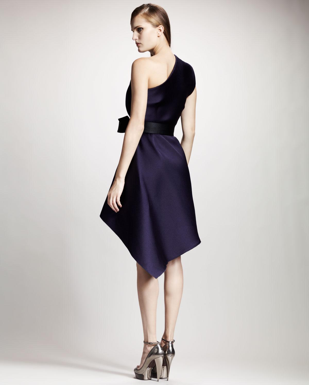 Lyst Lanvin One Shoulder Techno Dress In Blue