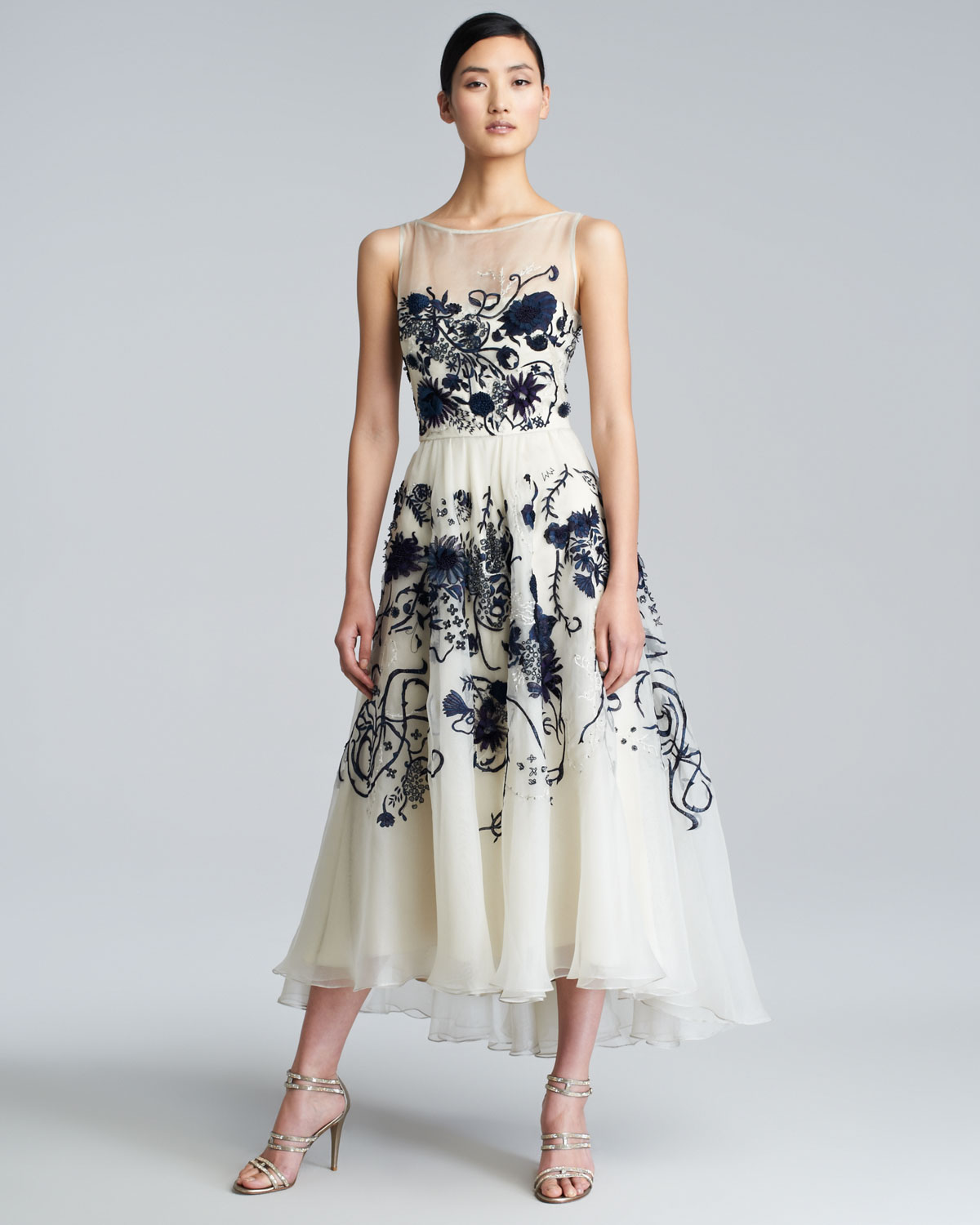 Lela rose floralembroidered silk chiffon dress in white lyst