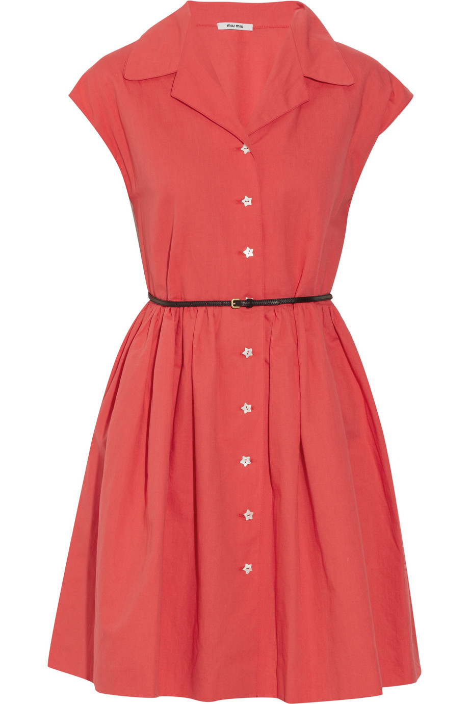 Miu miu Belted Cotton And Linen-Blend Shirt Dress in Red | Lyst