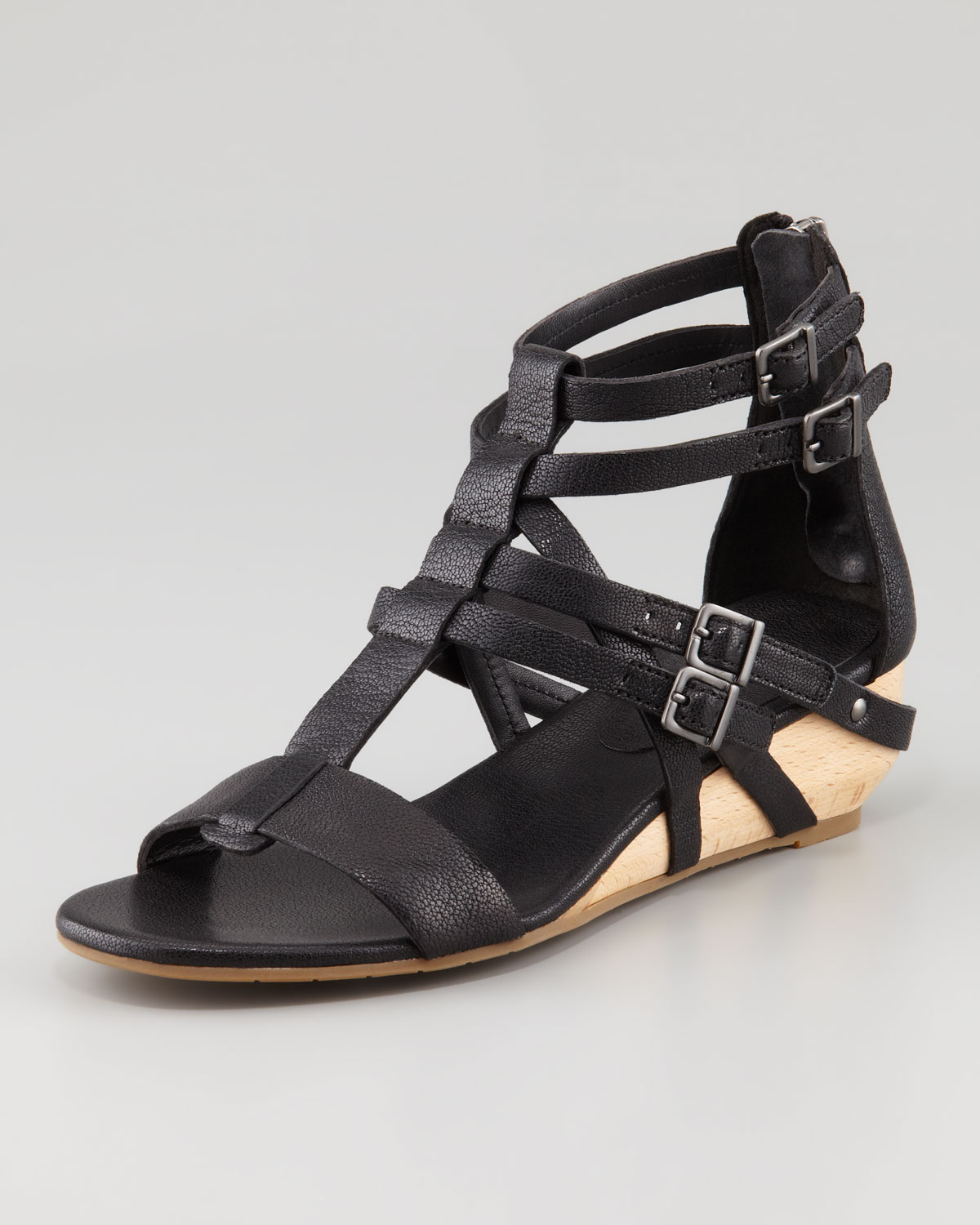 Eileen Fisher Low Wedge Gladiator Sandal In Black Lyst