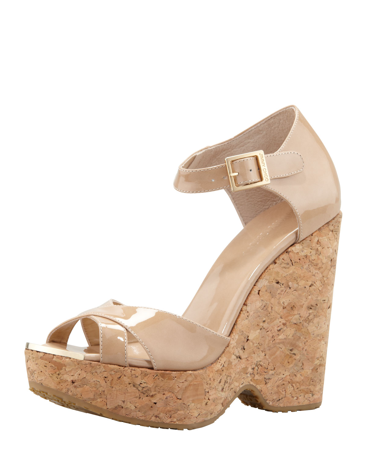 a21889b4c21 Lyst - Jimmy Choo Pape Patent Wedge Sandal Nude in Natural