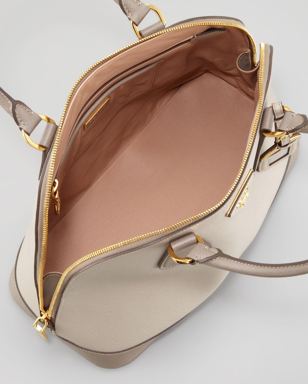 d349261ab ... shopping lyst prada saffiano bicolor dome bag in natural 79d4b f43fc