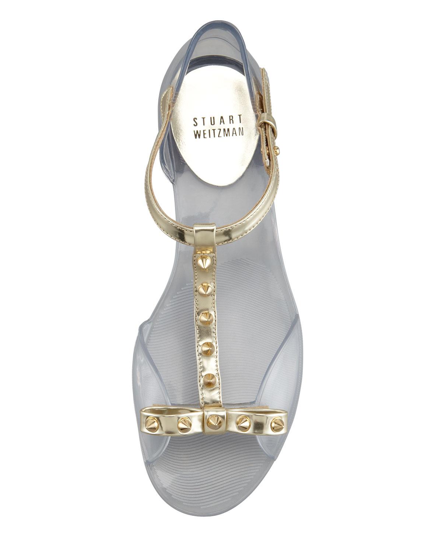 e13c4147e18e Lyst - Stuart Weitzman Nifty Jelly Flat Sandal in Metallic