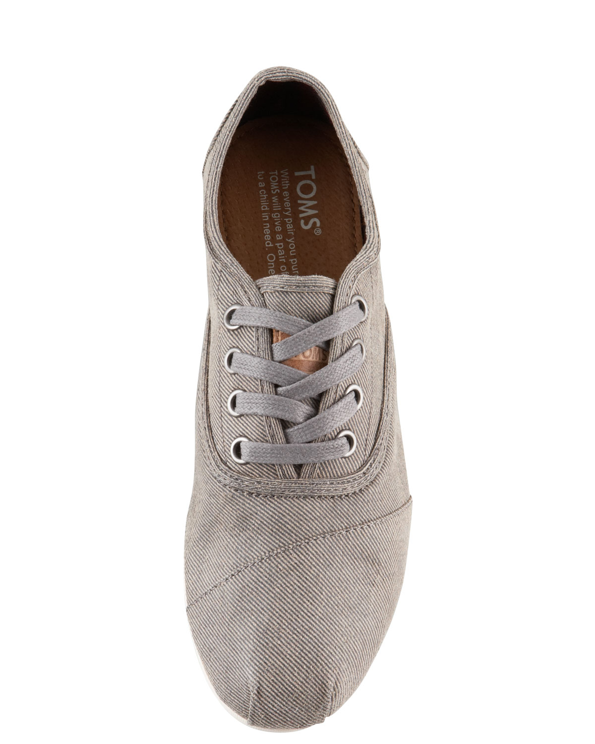 TOMS Womens Waxedtwill Laceup in Taupe