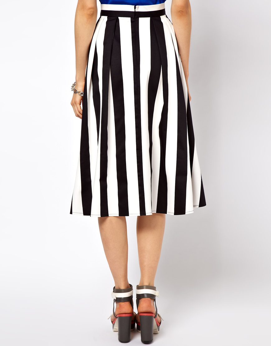 Asos collection Midi Skirt in Bold Stripe in White | Lyst