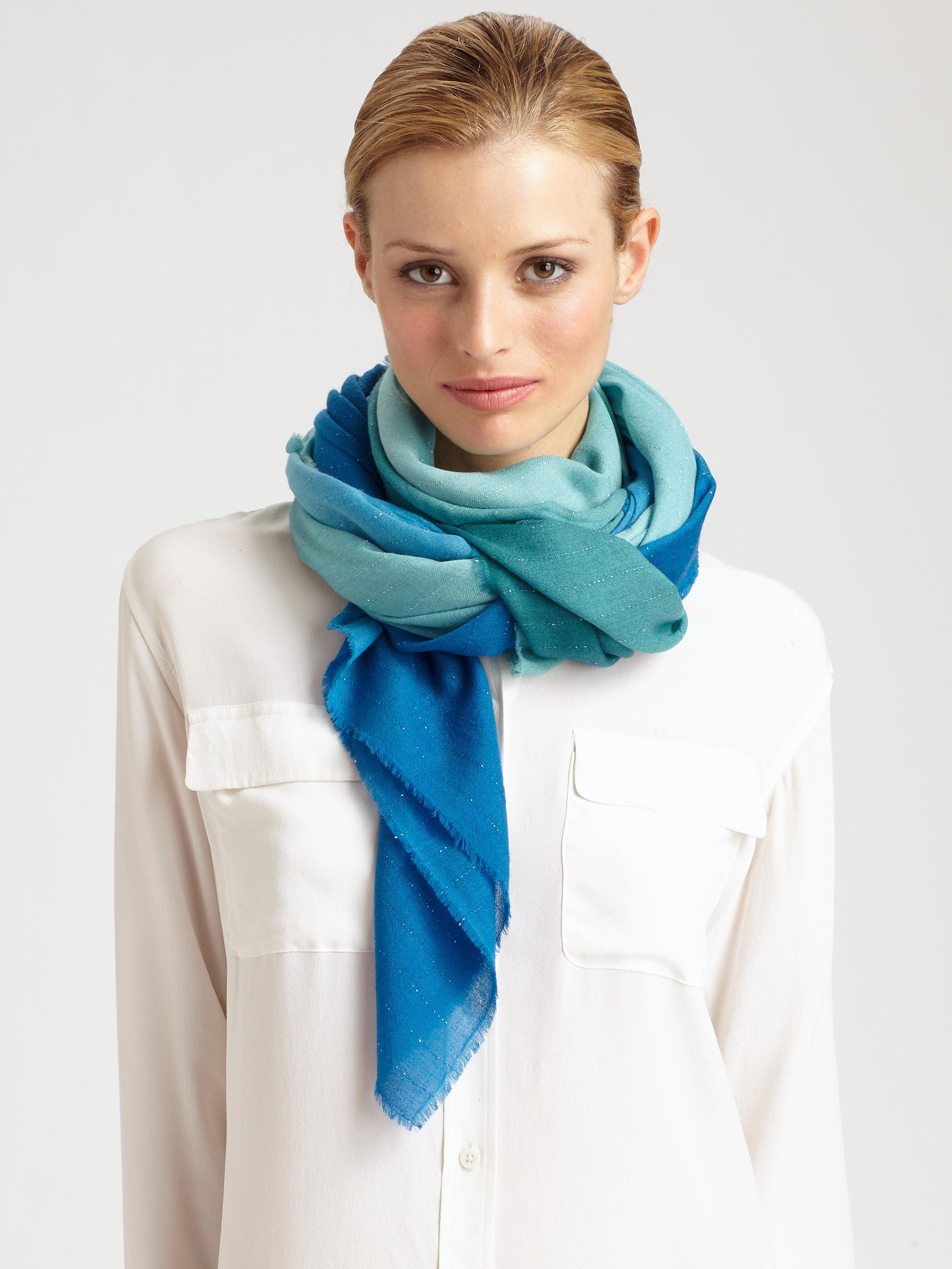bajra lurex scarf in blue lyst