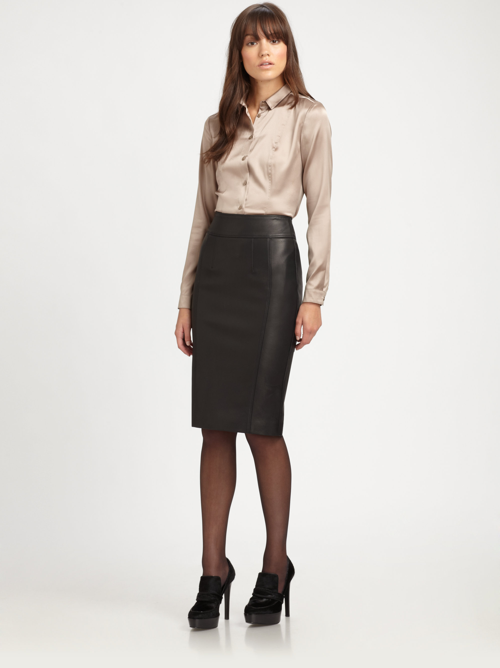 Burberry Stretch leather Pencil Skirt in Black | Lyst