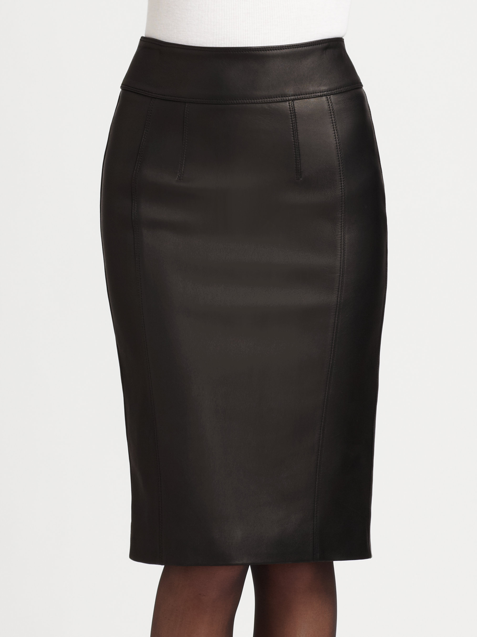 Lyst Burberry Stretch Leather Pencil Skirt In Black