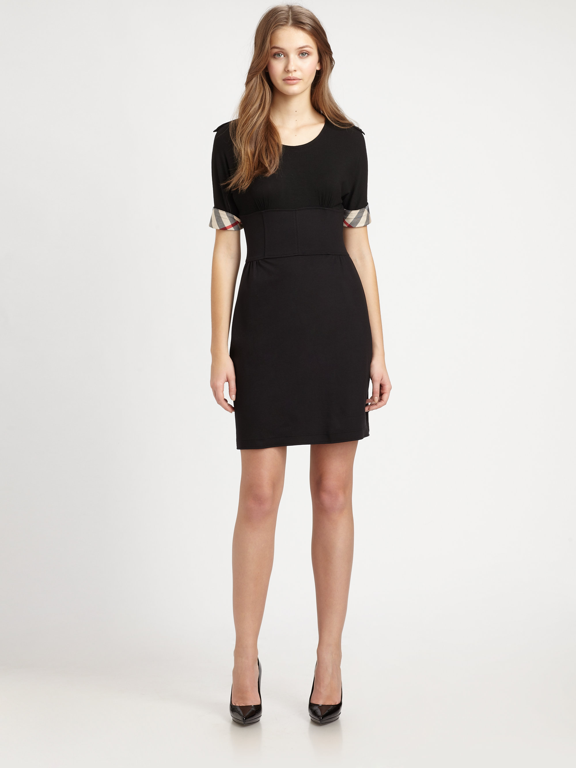 Burberry Brit Jersey Check Trim Dress In Black Lyst
