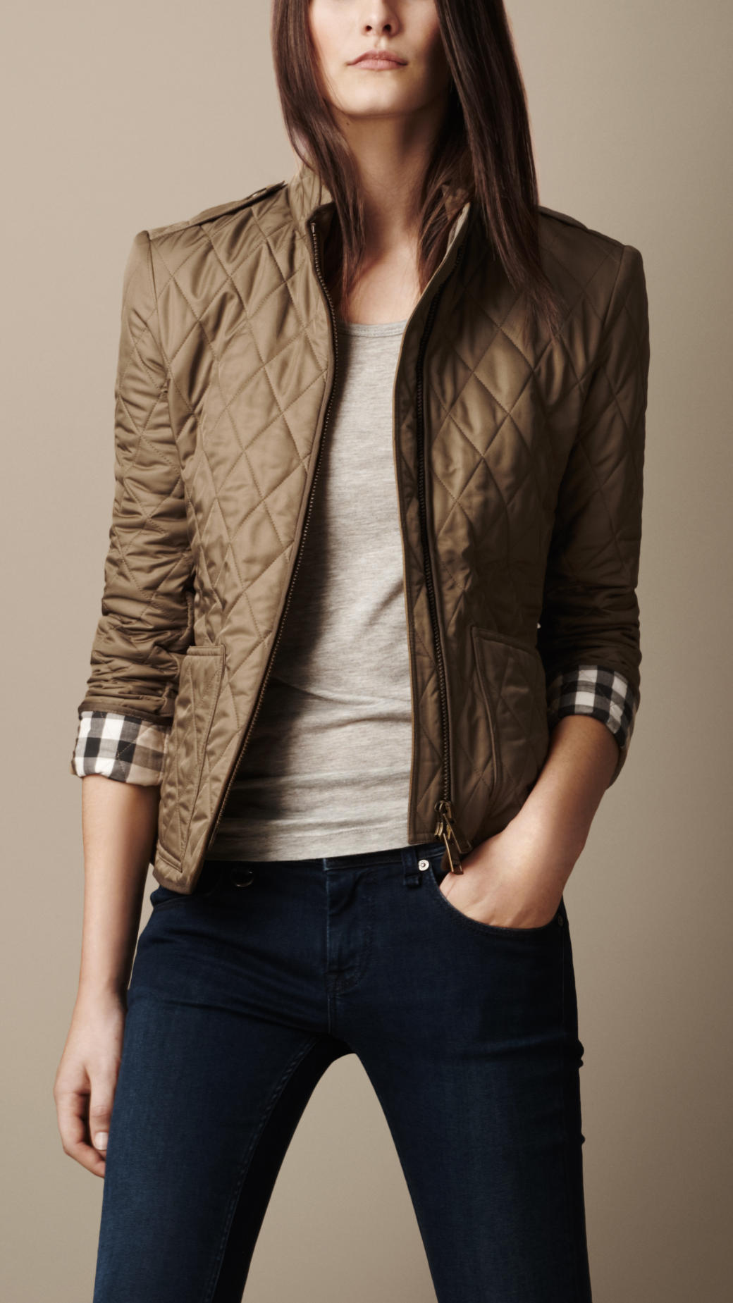Burberry Brit Check Cuff Quilted Jacket In Brown Lyst