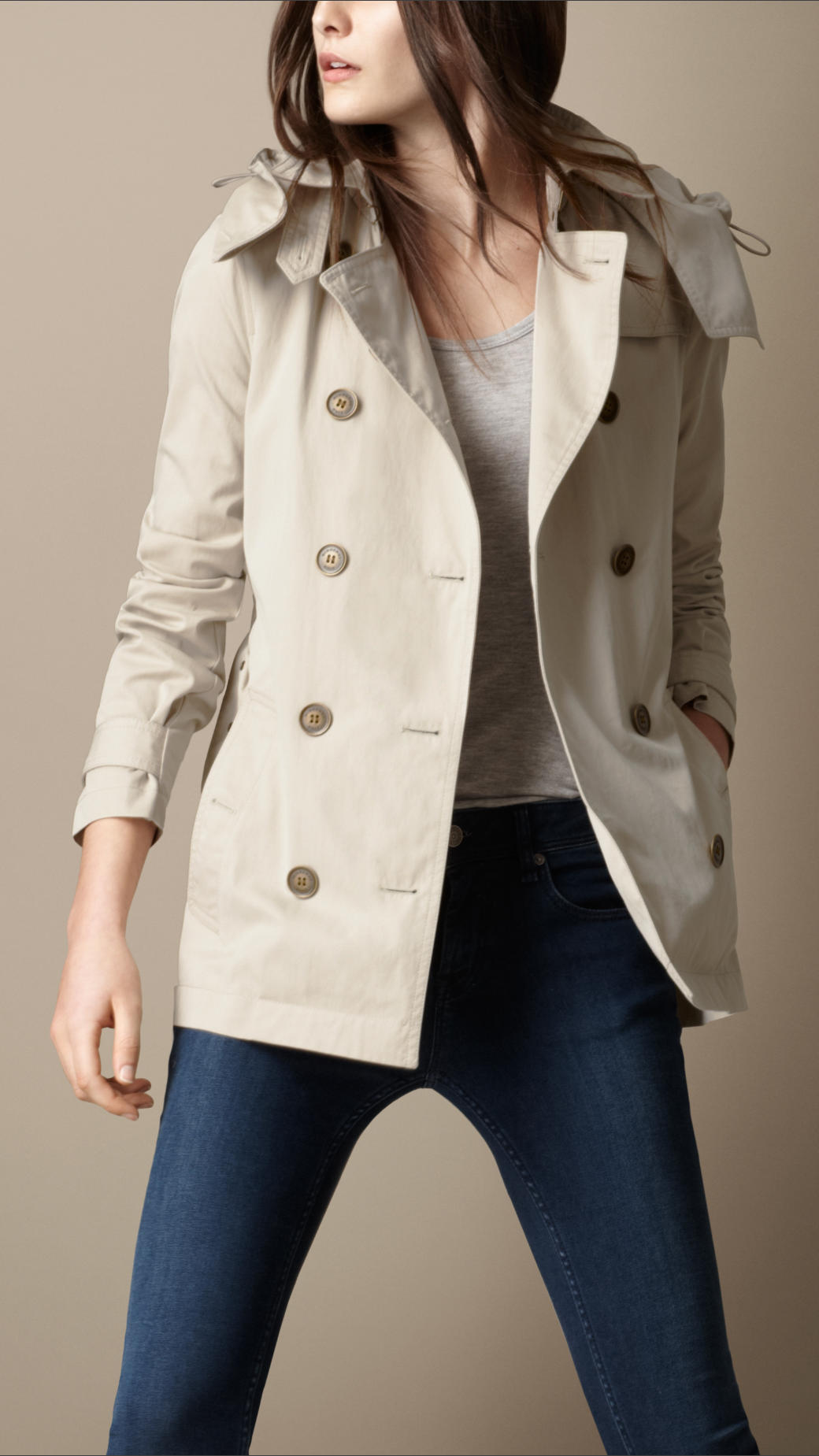 Burberry brit Short Cotton Nylon Gabardine Detachable Hood Trench ...