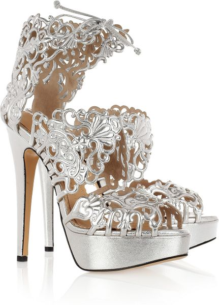 Charlotte Olympia Belinda Cutout Leather Sandals in Silver
