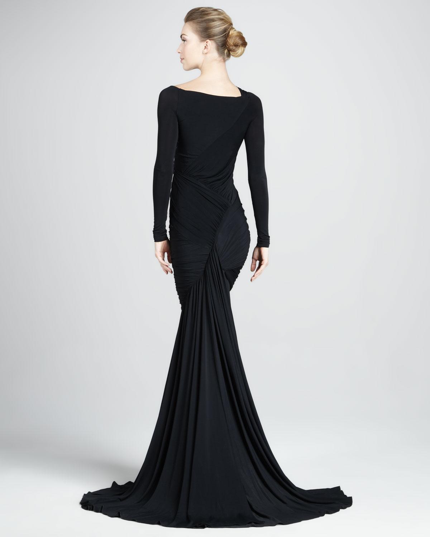 lyst donna karan longsleeve mermaid jersey gown in black