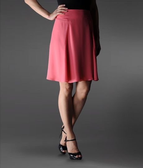 emporio armani knee length skirt in silk in pink