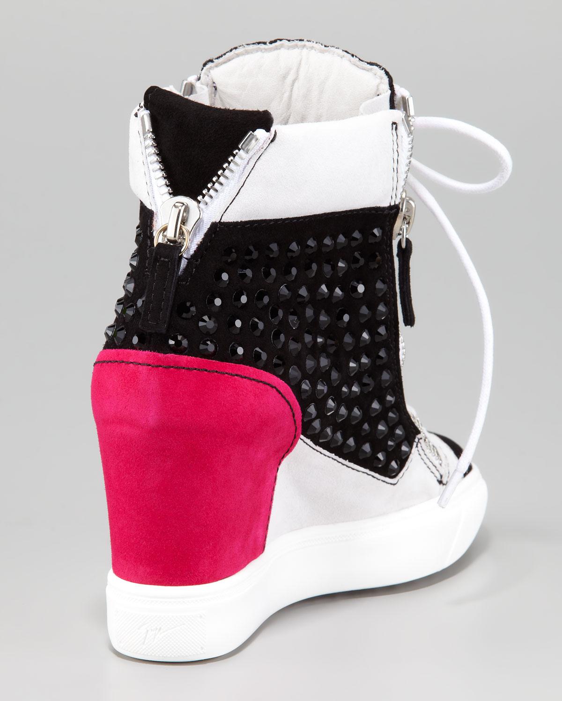 Giuseppe Zanotti Crystal Colorblock Wedge Sneaker ...