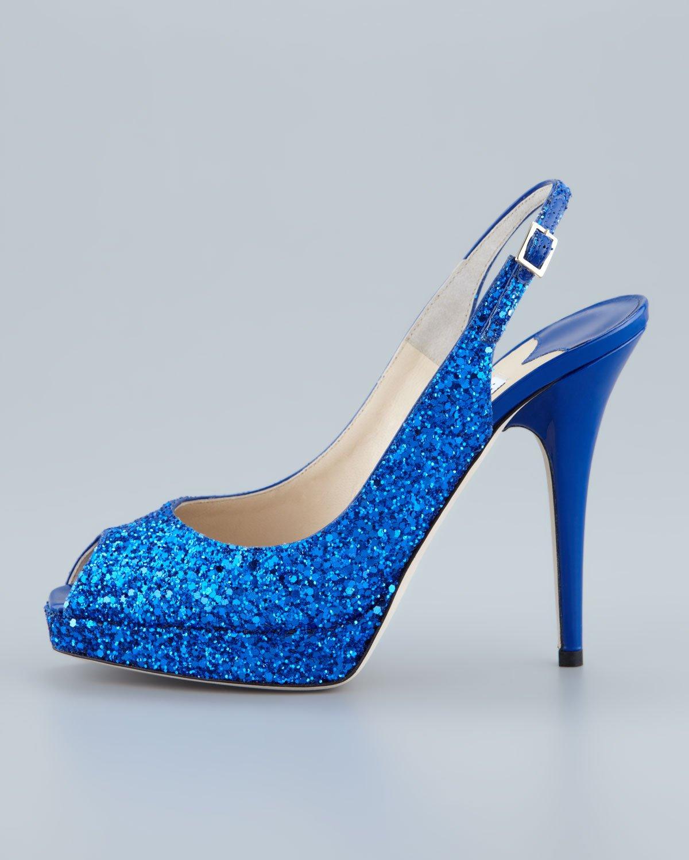 Jimmy choo Clue Glitter Platform Slingback in Blue