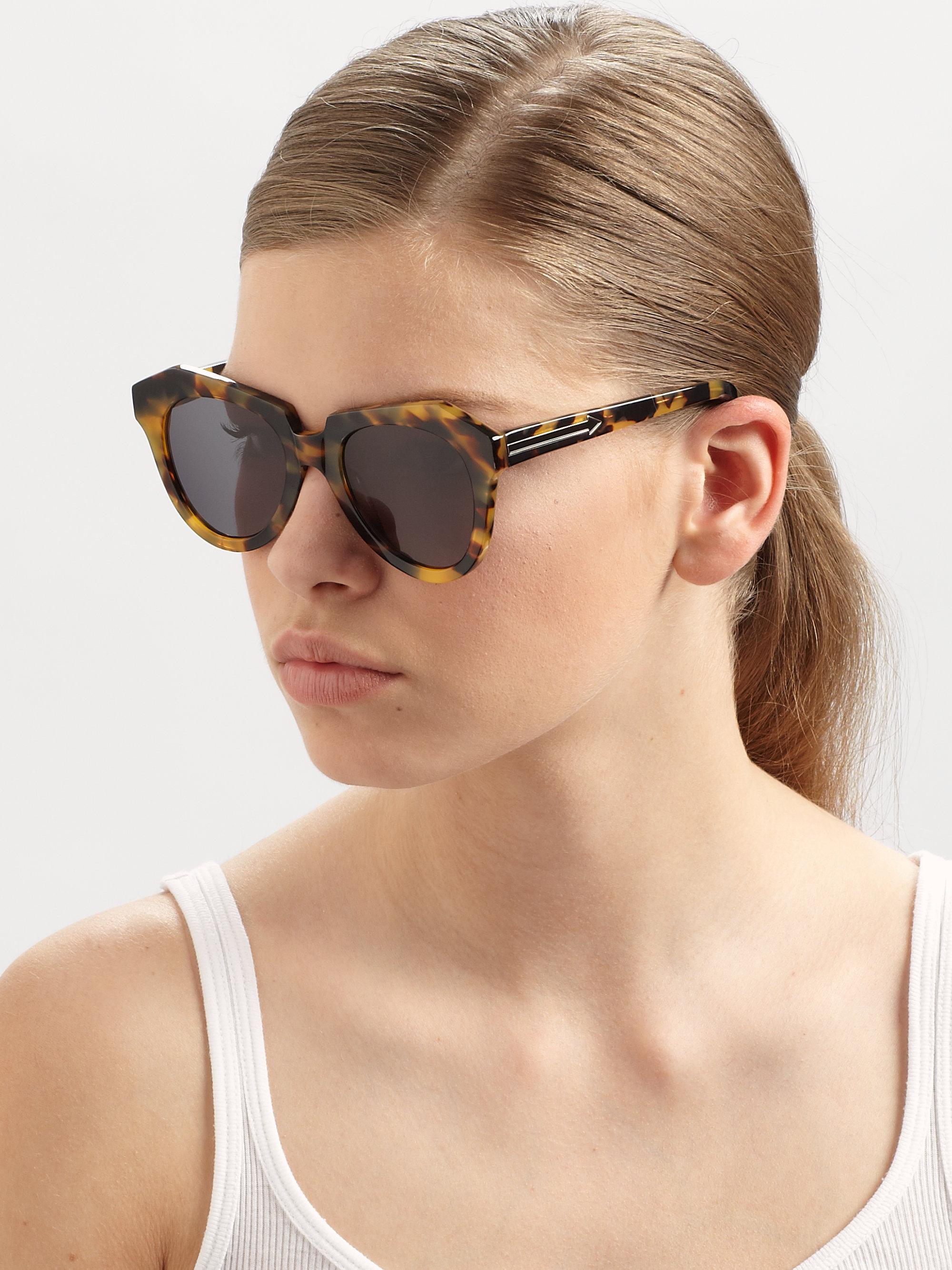 933dcbe4188f Lyst - Karen Walker Number One Tortoise Acetate Cat Eye Sunglasses ...