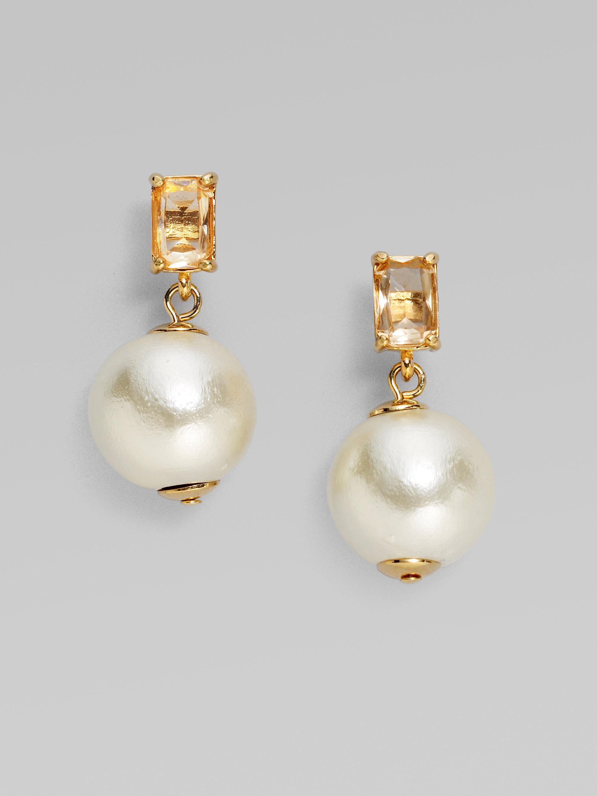 Kate Spade New York Faux Pearl Earrings In White Lyst