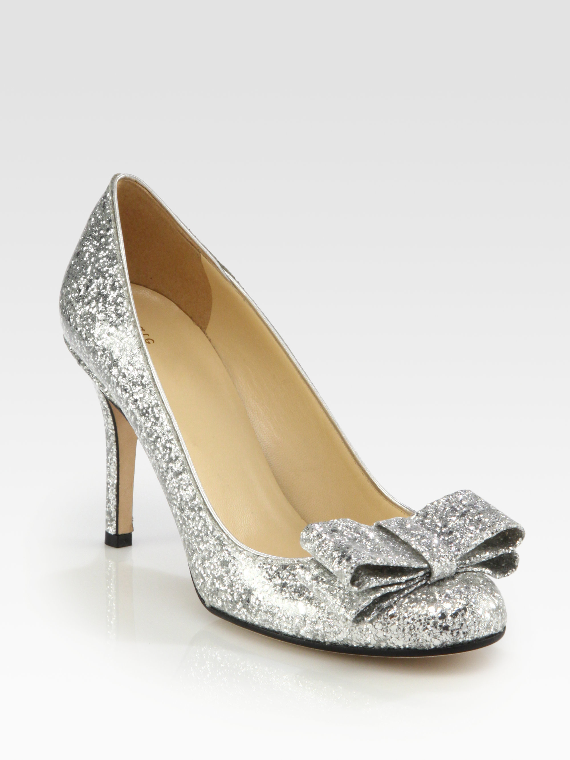 e0ae971a1890 Lyst - Kate Spade Krysta Glittercoated Patent Leather Bow Pumps in ...