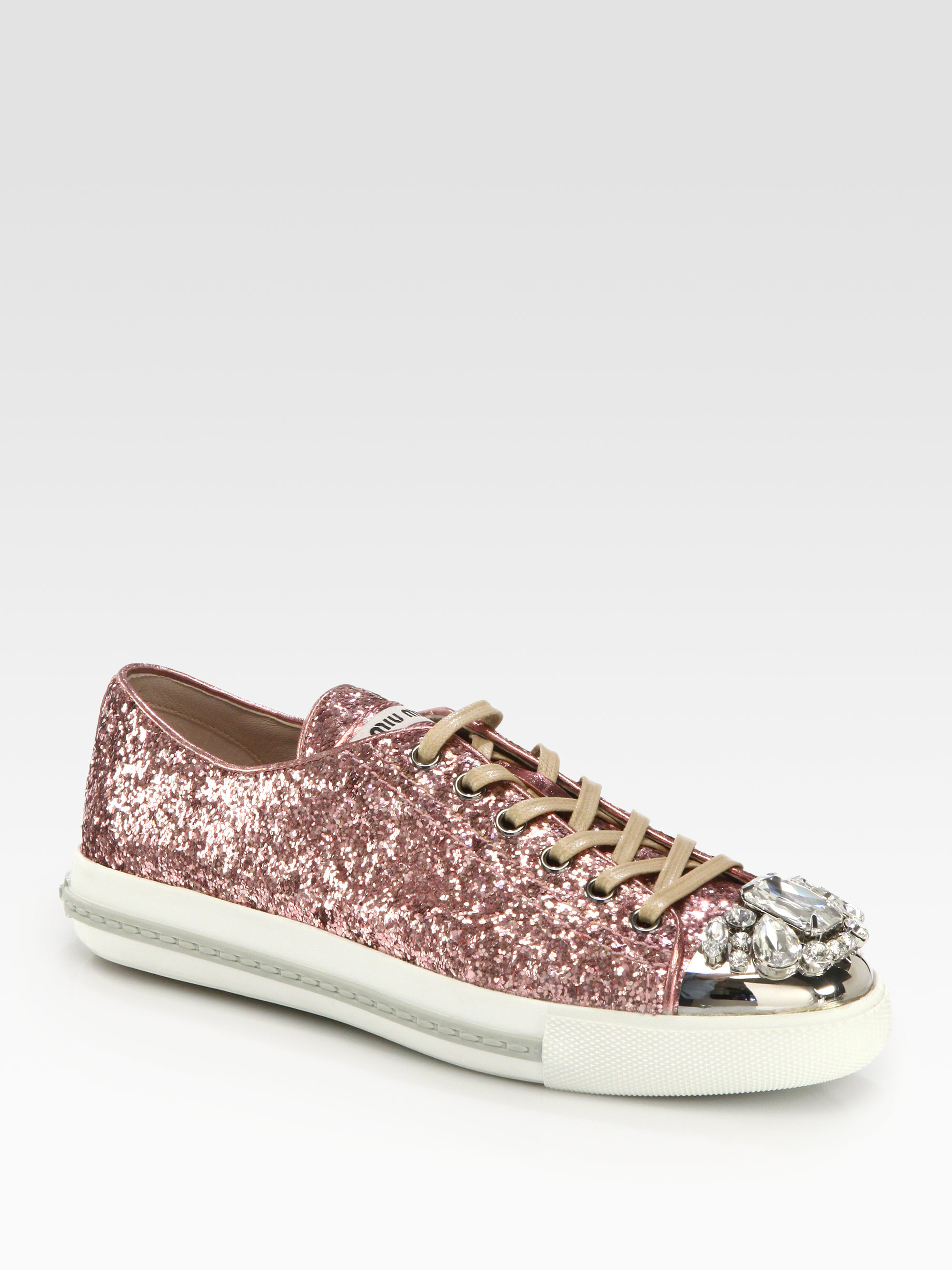 Lyst - Miu miu Glitter Jeweled Laceup Sneakers in Pink