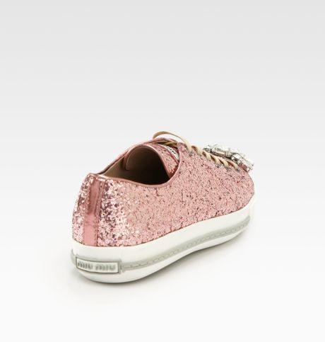 miu miu glitter jeweled laceup sneakers in pink lyst. Black Bedroom Furniture Sets. Home Design Ideas