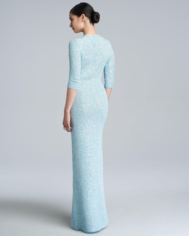 Lyst - Oscar De La Renta Sequin Knit Caftan Gown in Blue