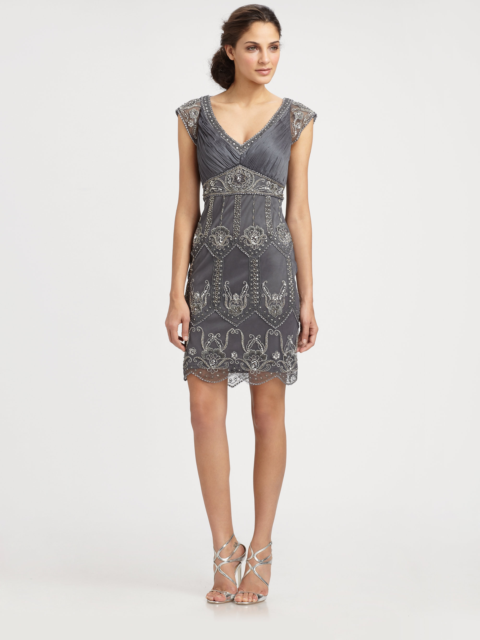 Sue Wong Embellished Champagne Dress In Charcoal Gray Lyst