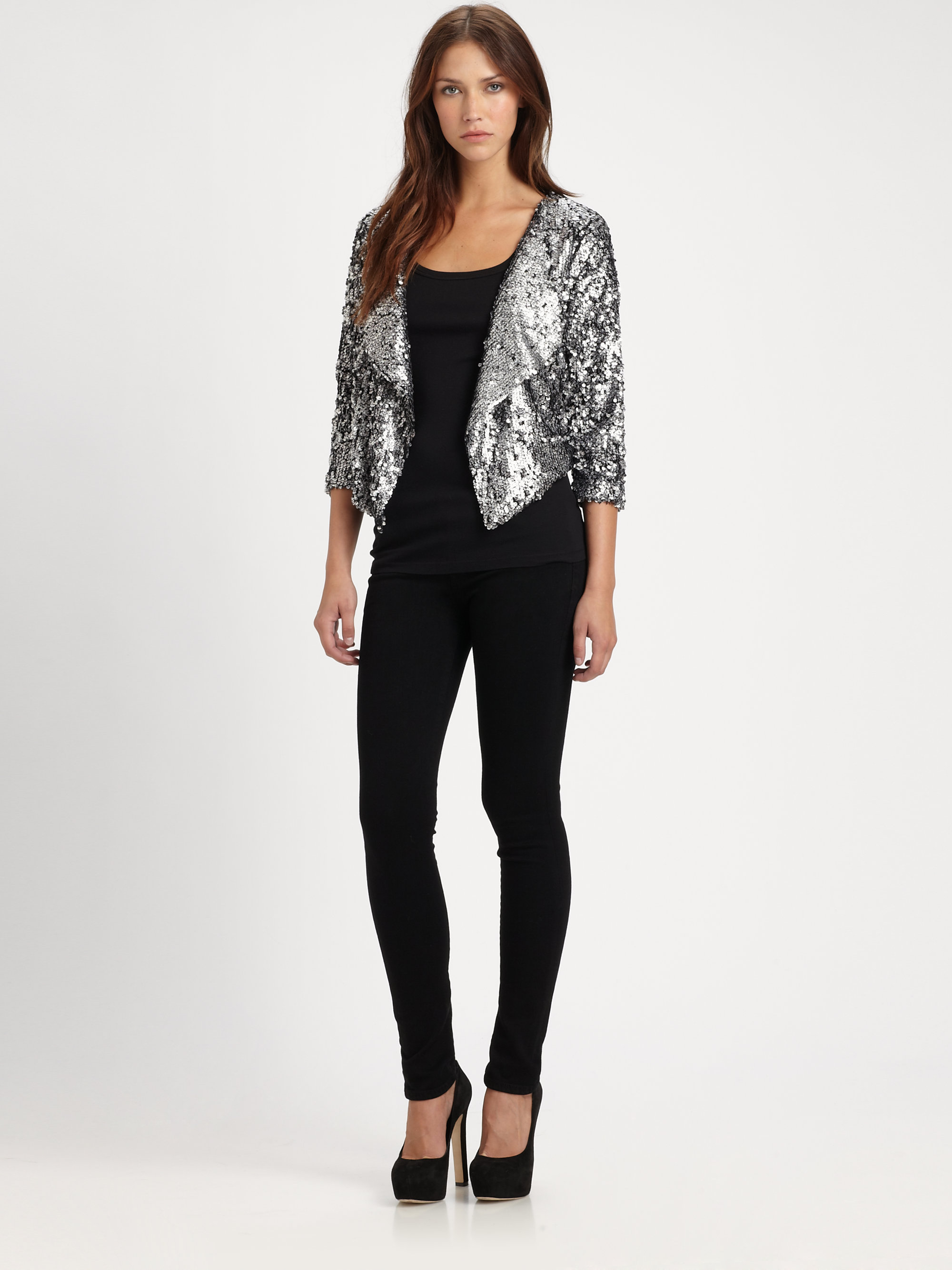 T-bags Cropped Sequin Jacket in Metallic | Lyst