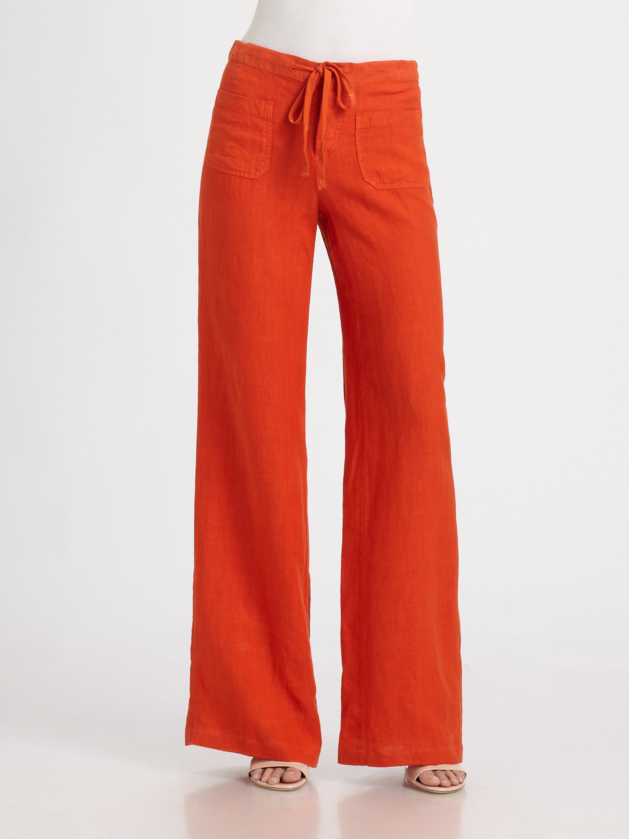 Vince Linen Beach Pants in Orange | Lyst