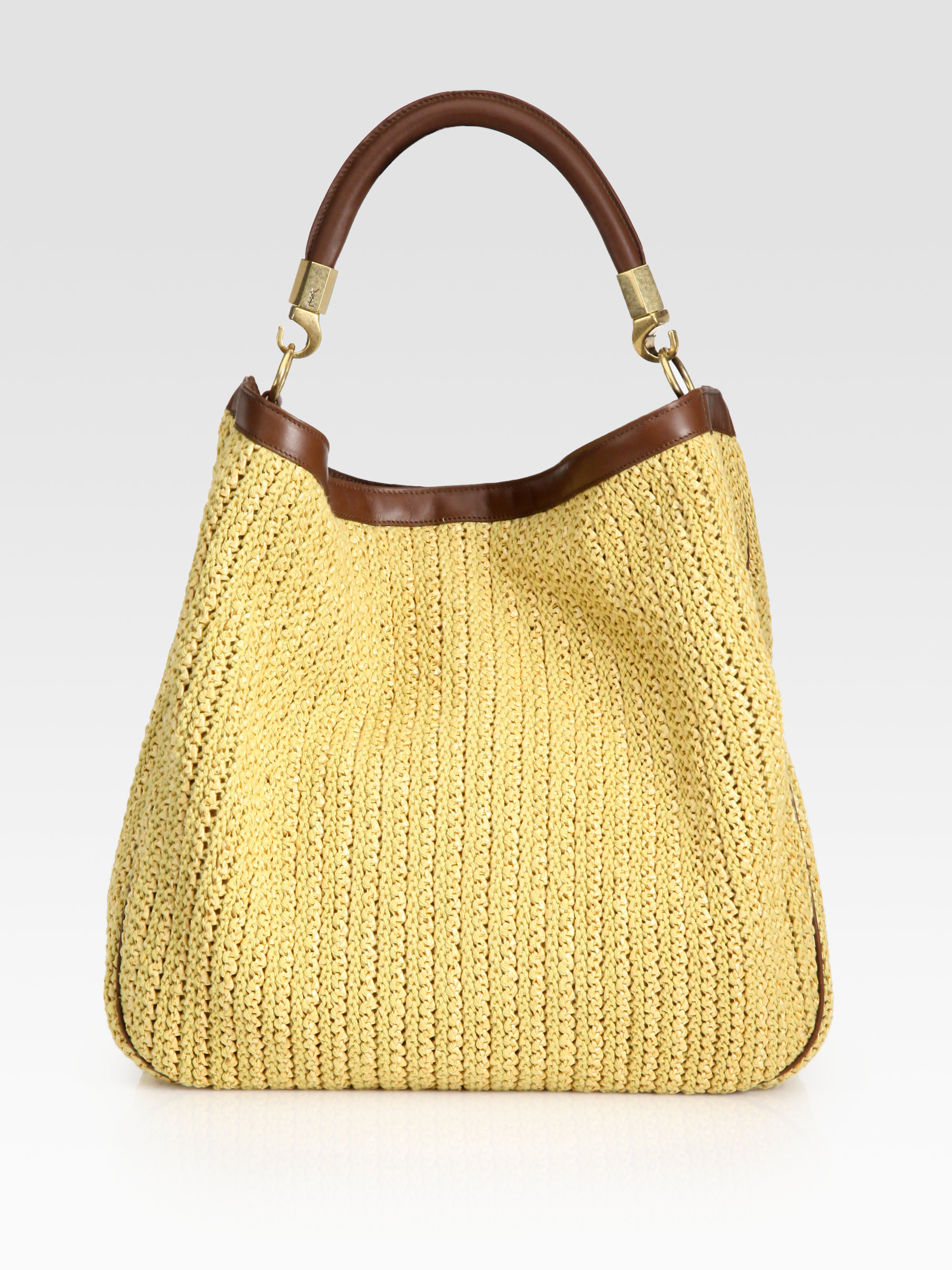 723e24d27b Lyst - Saint Laurent Ysl Large Raffia Roady Hobo in Natural