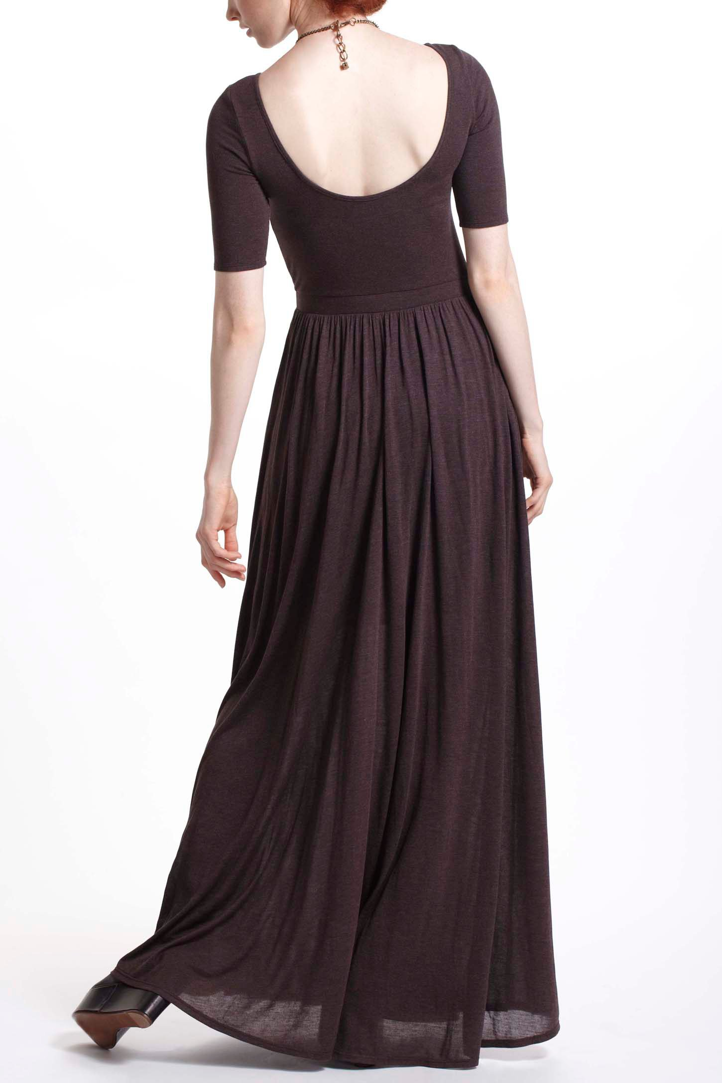 Anthropologie scoopback maxi dress in brown lyst for Anthropologie mural maxi dress