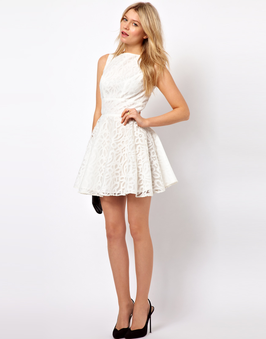 Asos Lace Full Skirted Dress With Cut Out Back In Black Lyst