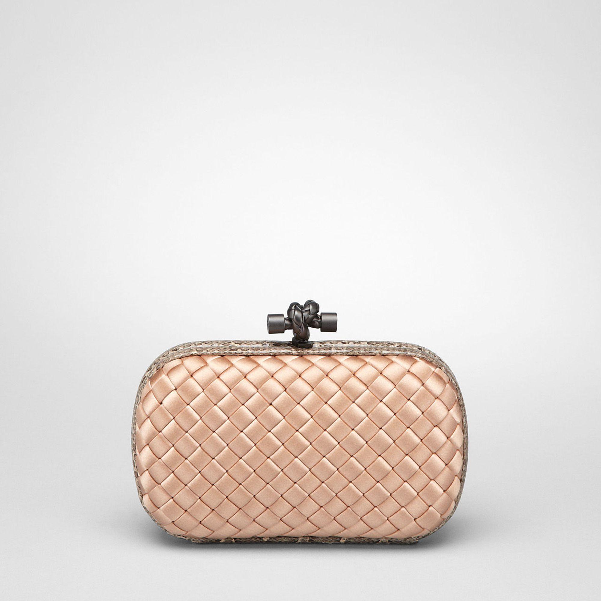 bottega veneta satin box clutch bag in gold nude lyst. Black Bedroom Furniture Sets. Home Design Ideas