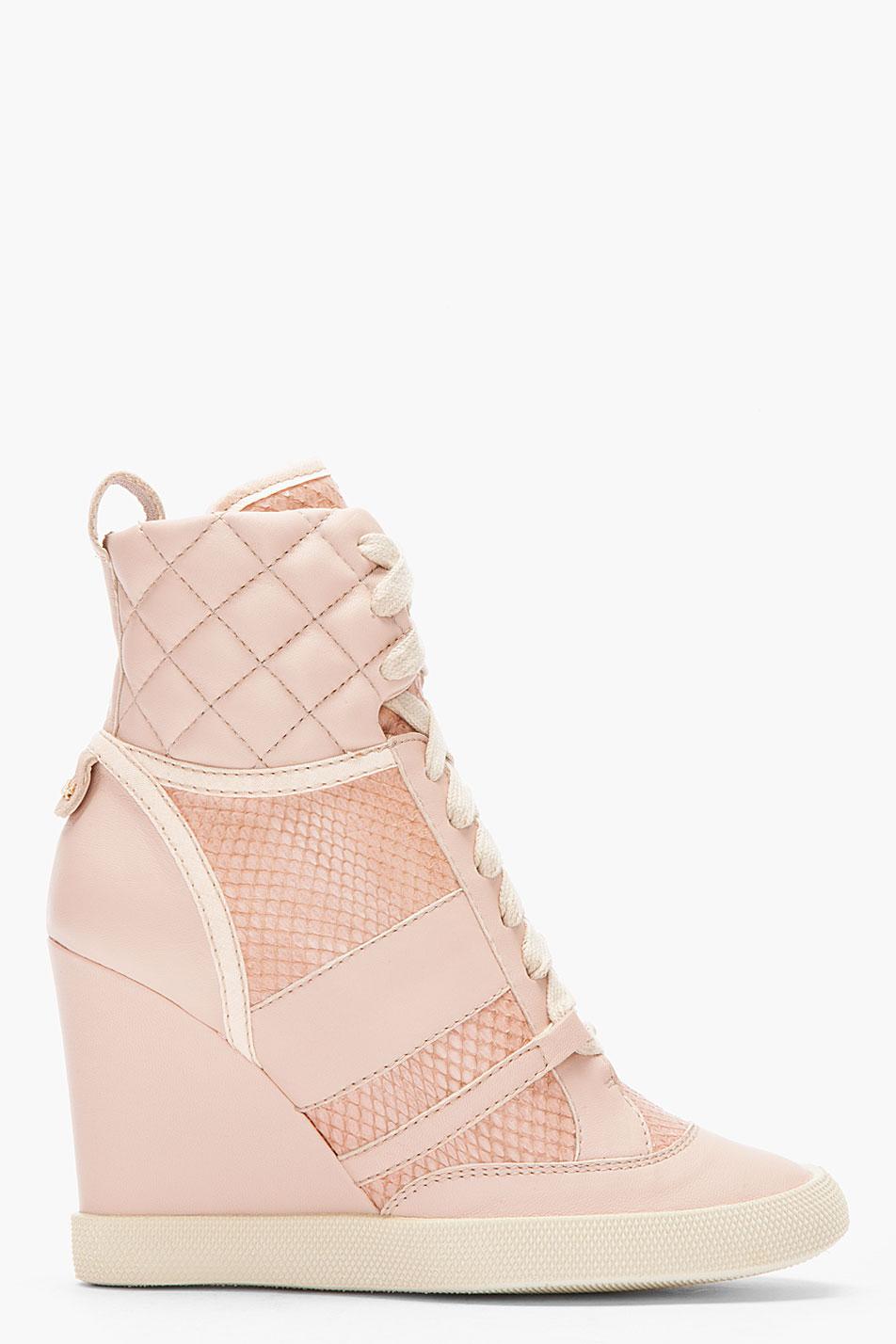 Chloé Pink Snakeskin Wedge Sneakers - Lyst