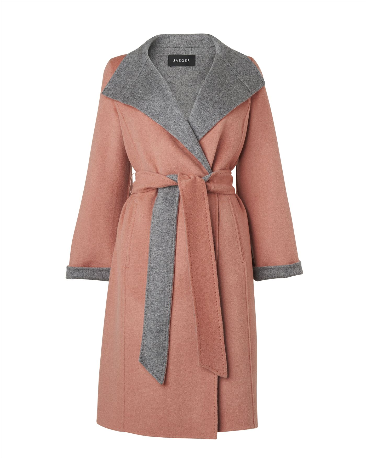 Jaeger Wool Double Faced Wrap Coat In Pink Lyst