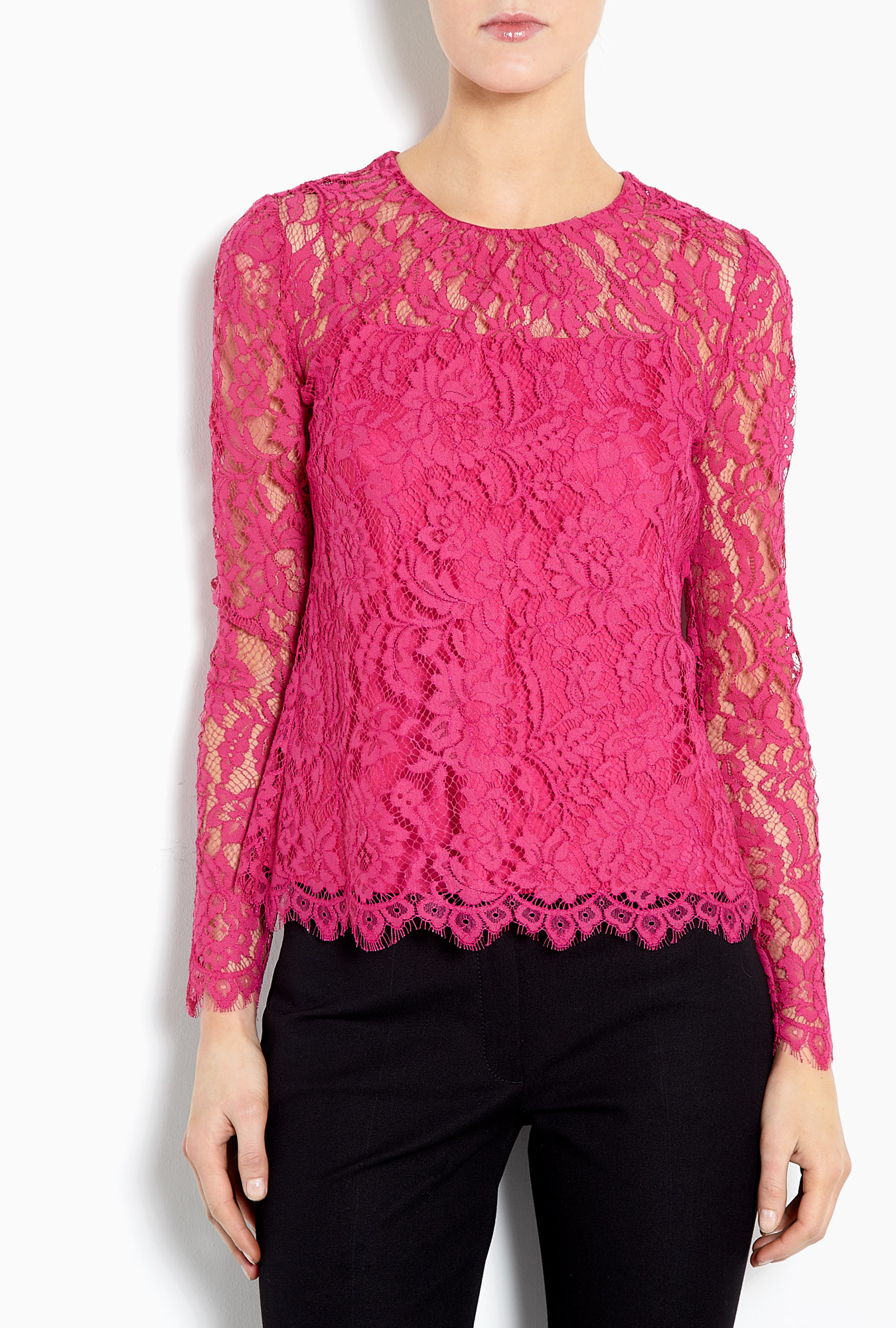 Milly Ivy Lace Blouse in Pink (fuschia ) | Lyst