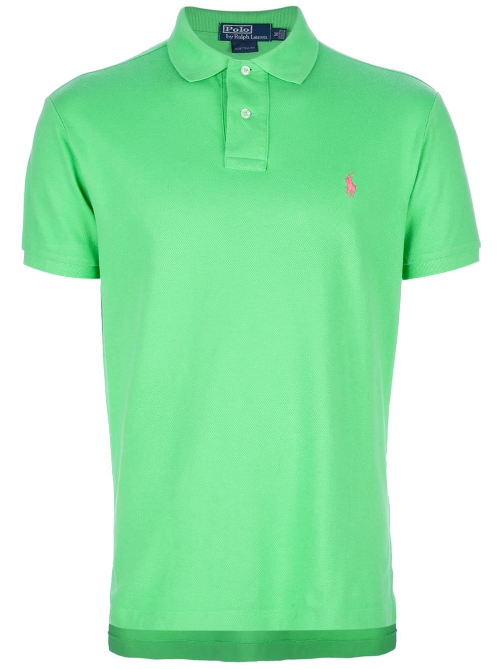 Lyst polo ralph lauren logo polo shirt in green for men for Ralph lauren logo shirt