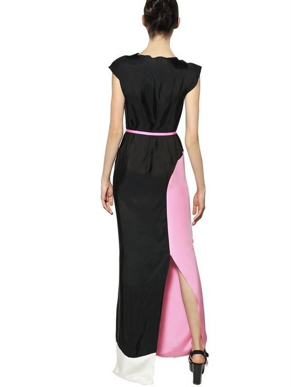Roksanda Two Tone Crepe Marocain Long Dress In Black Pink