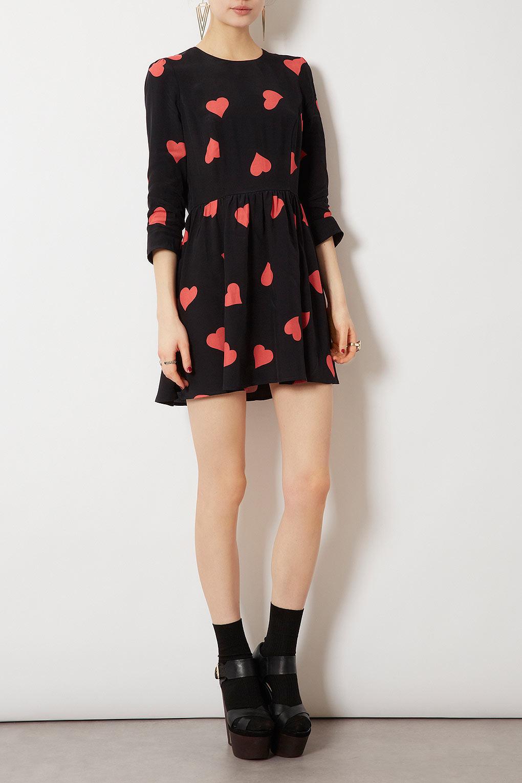 Topshop Long Sleeve Heart Flippy Dress In Black Pink Lyst