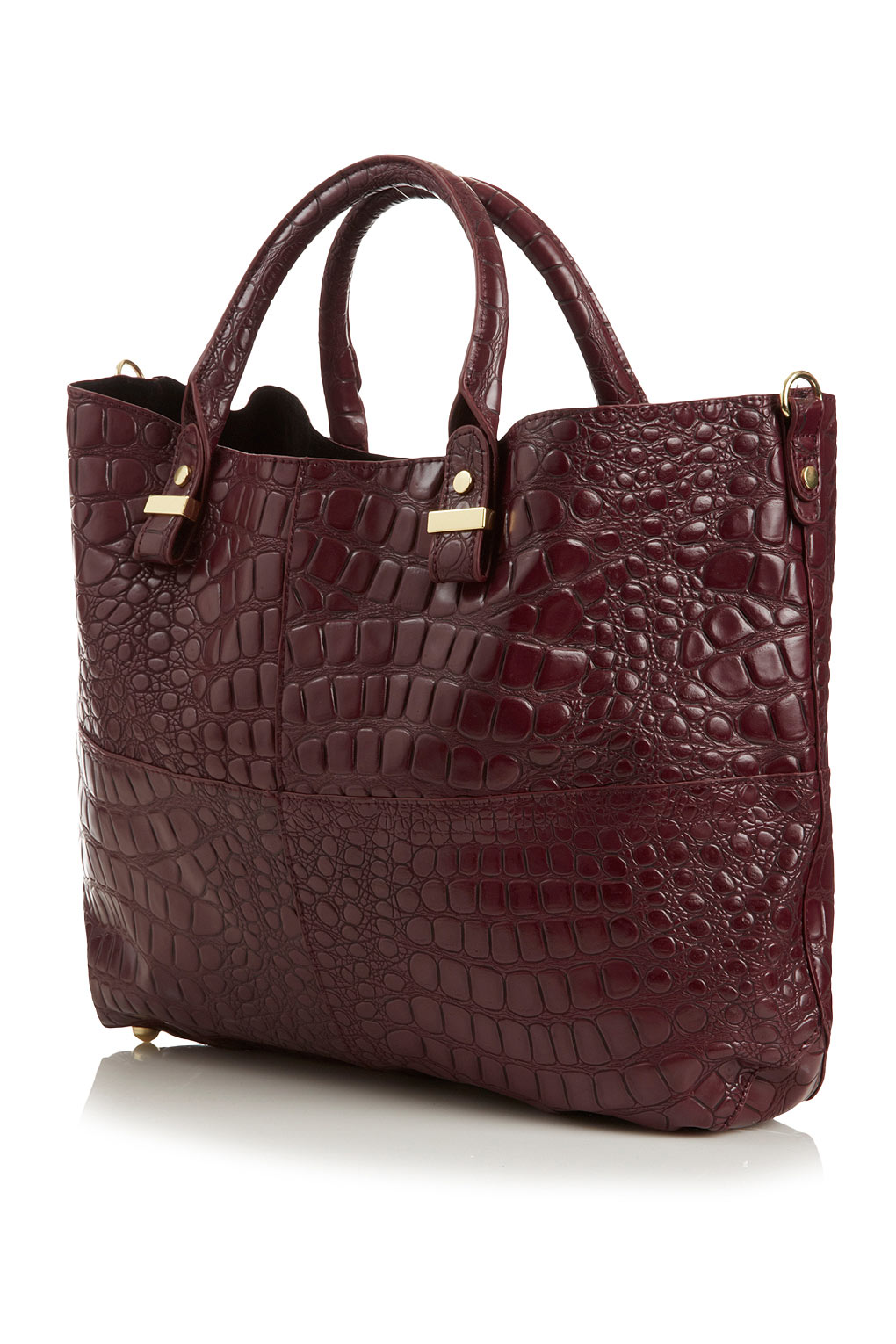 TOPSHOP Croc Lady Tote in Oxblood (Red)