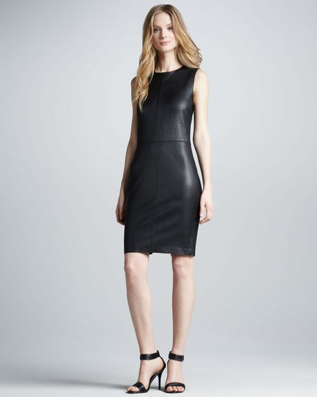 Vince Fitted Leather Dress in Black