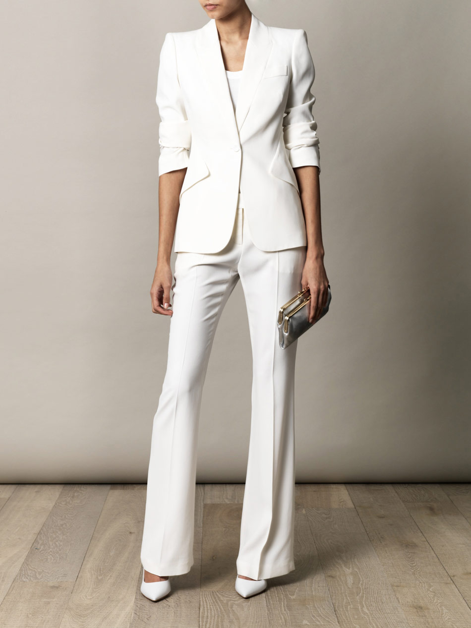 Lyst Alexander Mcqueen Leaf Crepe Bootcut Trousers In White