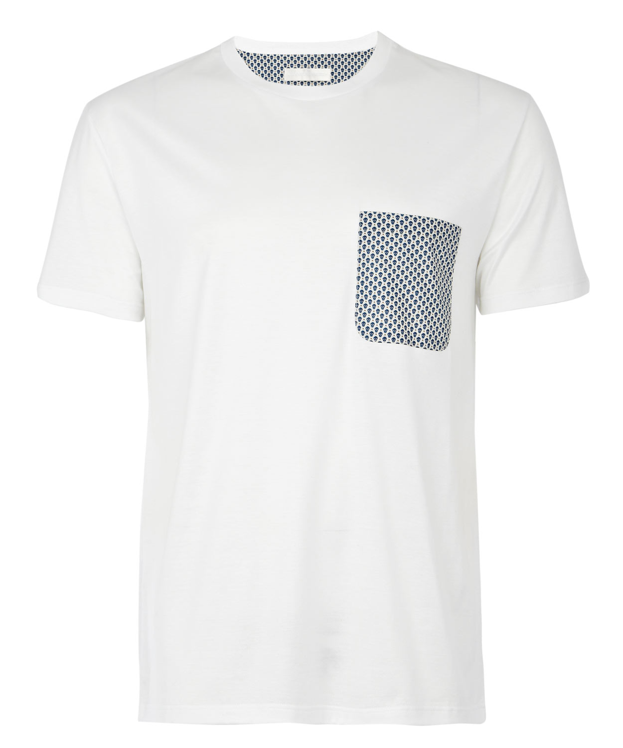 Alexander mcqueen skull print pocket t shirt in white for for Pocket t shirt printing
