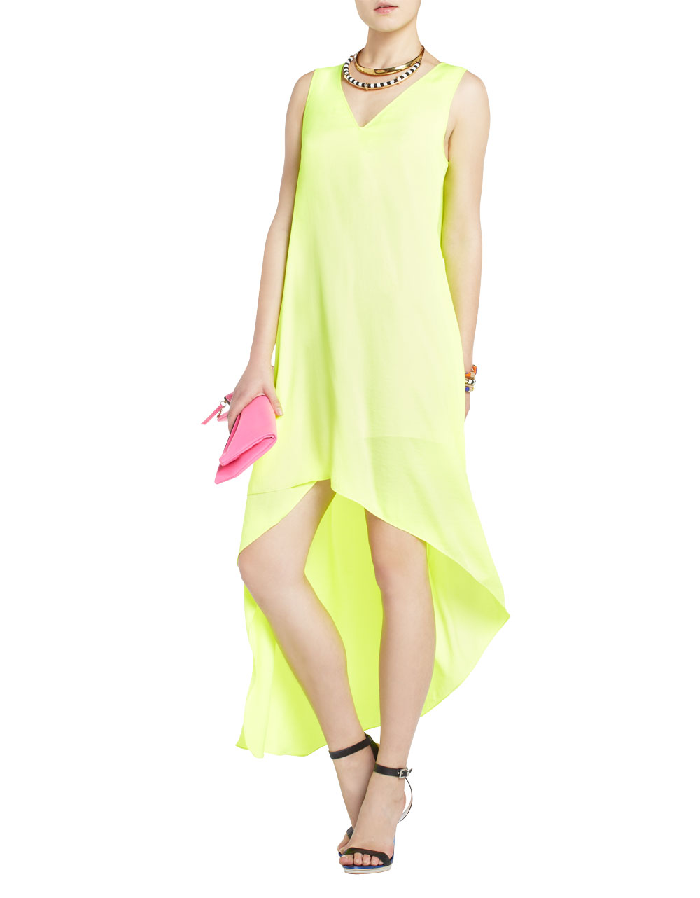 Bcbgmaxazria Avery Asymmetrical Dress in Yellow (neon ...