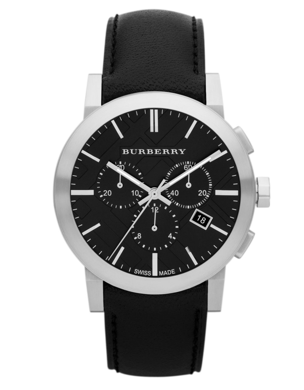 Burberry mens chronograph watch with black leather strap in black for men lyst for Black leather strap men