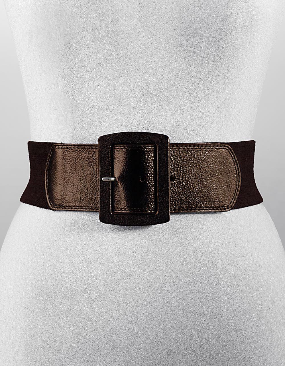 calvin klein stretch wide belt in black brn lyst