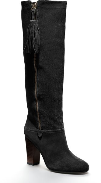 coach therese suede boot in black lyst