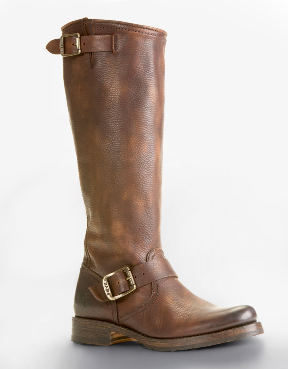 frye veron buckled slouchy leather boots in brown