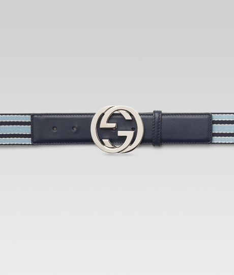Gucci Ribbon Belt with Interlocking G Buckle in Blue for Men (navy)