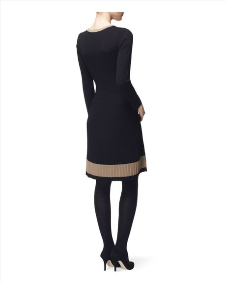 jaeger pleated skirt knit dress in black lyst